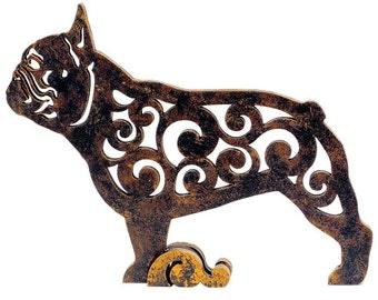 Statuette French Bulldog, figurine dog made of wood, hand-painted with acrylic and metallic paint