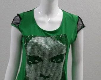 green bling  bling top