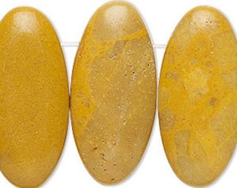 Yellow Marble Pendant, Flat Puffed Oval, Ochre Yellow, Mustard Yellow, Rustic, 34x16mm, 2 each, D855