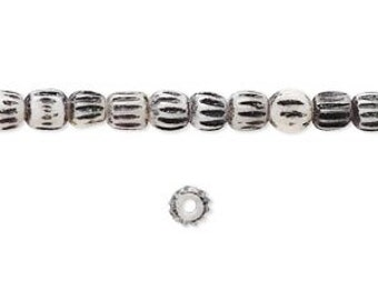 Antiqued Black over White Bone Bead, Corrugated Bead, 3 to 4mm, Rustic, Primitve, 40 Each, D860