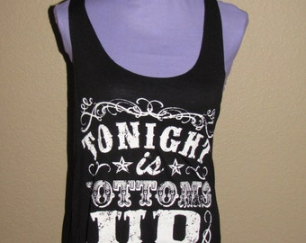 Tonight is Bottoms Up - Black - Plus Size Tank Top
