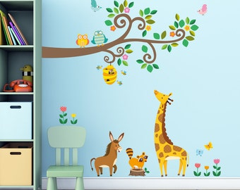 Decowall,DW-1512,Scroll Branches and Animals Wall Stickers