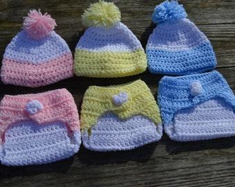 Newborn diaper cover and hat set