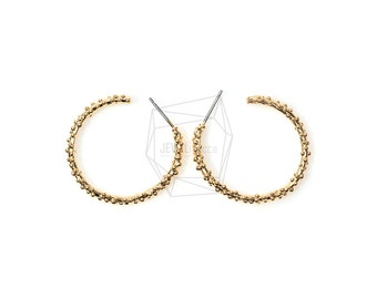ERG-133-G/Hoop Earrings/2pcs/26mmX30mm/Tiny Dots Stud Earrings/Plated Over Brass/Stering Silver Post