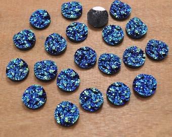 12mm Round Resin Cabochons,30pcs Dark Blue Color Resin Metallic Druzy Cabochon Glitter Resin Cabochons Wholesale - FF1395