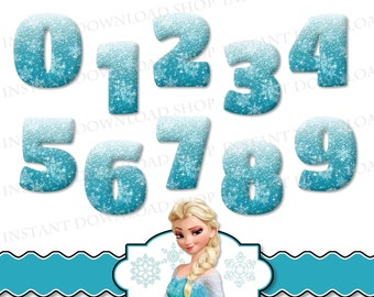 INSTANT DOWNLOAD Frozen Numbers, Frozen Digital Clipart, Frozen Party, Frozen Clipart, Snowflake Numbers, Winter Numbers, Glitter Numbers