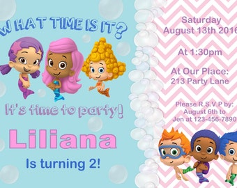 Bubble guppies invite, Guppies birthday invitation, bubble guppies birthday invitation