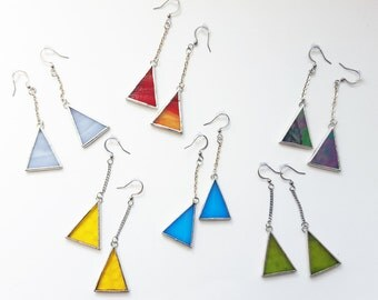 Stained glass earrings-Tiffany-triangle-tin-pewter-recycled glass-minimalist-modern-hipster