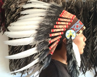 Indian style headdress, feather headdress, feather headpiece, feather warbonnet,indian white feather headdress