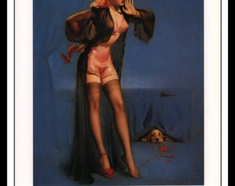 "Gil Elvgren Vintage Pinup Illustration ""Dog Gone 1950"" Sexy Pinup Mature Wall Art Deco 1995 Book Print 9 3/4"" x 14"""