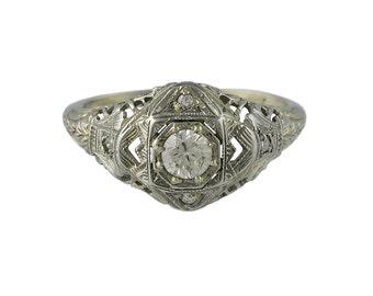 Edwardian 18K White Gold Filigree Diamond Ring