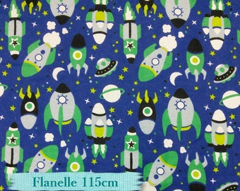 Flannel, Space, Rocket, by the yard,