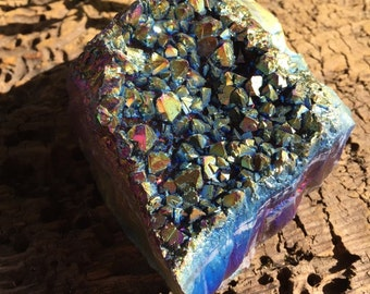 Beautiful 393.9g Large Titanium Rainbow Flame Aura Amethyst Quartz Healing Cluster Geode Metaphysical Properties