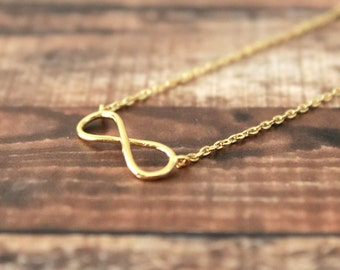 Gold Tiny Infinity Pendent Necklace, Gold Necklace,Infinity Necklace, Dainty Infinity necklace, Dainty Necklace -4024