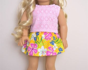 American Girl Doll Clothes  Yellow Floral skirt