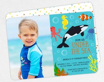 Under the Sea Birthday Invitation, Photo Birthday Invitation PDF, Printable Birthday Invitation, Printed Invite, Ocean, Aquarium, Dolphin