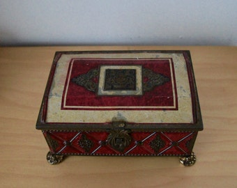 Vintage Ornate Decorative Tin Box With Lid And Feet