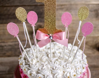 First Birthday Cake Topper, pink and gold, One cake topper, Balloon cake topper
