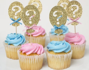 12 Gender Reveal Cupcake toppers, He or She, Balloon Cupcake Toppers, Babyshower, Birthday decorations