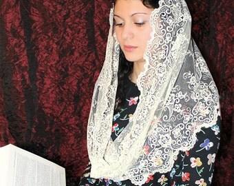 ivory mantilla Infinity,veil latin mass Scarf,chapel mantilla,Lace Head Covering,church veil,catholic accessories,Religious Head Coverings