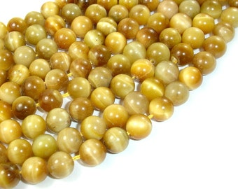 Golden Tiger Eye, 8mm (8.3 mm) Round Beads, 15.5 Inch, Full strand, Approx 49 beads, Hole 1 mm (426054026)