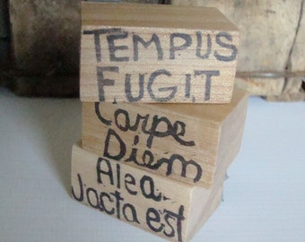 Stamp set Latin Phrases Tempus fugit, Carpe Diem, Alea Jacta Est