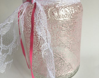 Hand Painted Small Jar/Vase (Pearlized Light Pink)