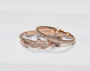 Two Wedding Set Matching Real Diamond Wedding Ring Vintage Inspired Diamond Anniversary Ring in 14k Rose Gold Half Eternity Band