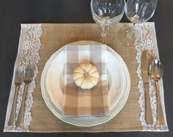 Burlap placemats - burlap and lace placemat sets - fall placemats
