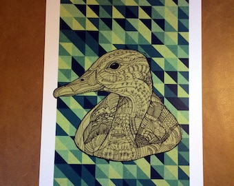 Geometric Duck - A4 Print (Signed and Numbered)