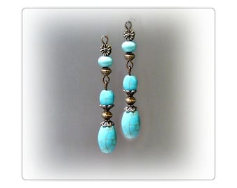 Earrings, Turquoise, Vintage style bronze, clip on or pierced