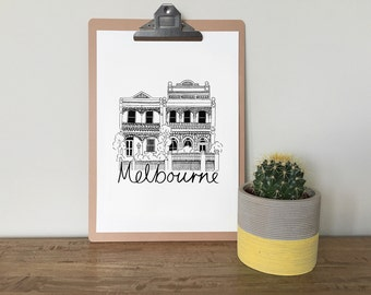 Melbourne Terrace Homes  illustrated A3 screen print