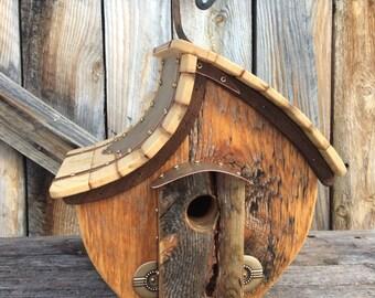 Unique Barnwood Birdhouse reclaimed recycled handmade wedding gift  #1637