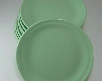 "Vintage Melamine  plates 8"" pale green Melmac Plaza U by Maplex - Set of 8"