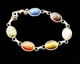 Vintage EGYPTIAN Revival SCARAB Beetle BRACELET, gold plated and stone