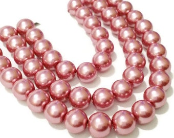 Bulk pearls pink, 65 faux pearls, 6mm glass pearls, dark pink pearls, dark rose pearls, colorful beads, jewelry making, craft supplies