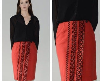 A Beautiful embroidered wool Skirt. Size small/medium
