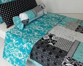 "Modern American Girl Doll Bedding Set - 18"" Doll Bedding Set - Teal Blue Doll Bedding Set - Ready to Ship!"