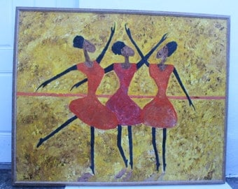 Vintage FiguralBallet Dancing  Abstract  Painting.