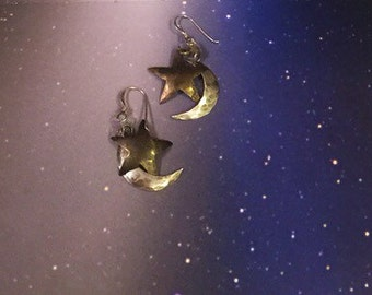 Star and Quarter Moon Vintage Earrings