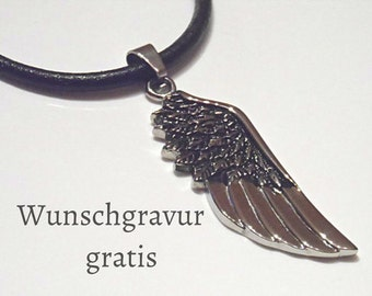 Angel wing leather necklace stainless steel happiness