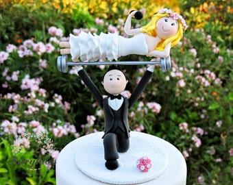Weightlifting Cake Topper with Stand