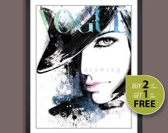 Fashion Illustration, fashion poster, fashion print, Vogue print, Vogue poster, Vogue cover, Vogue wall art, Vogue magazine 90s, 3264