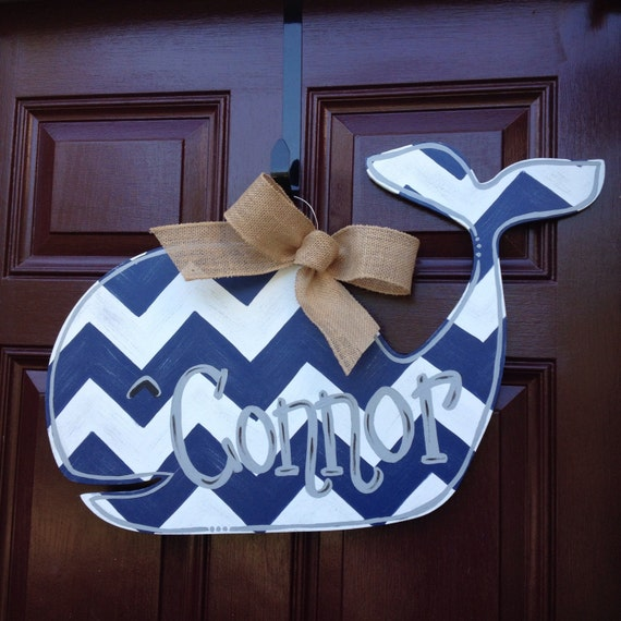 Items similar to whale hospital door hanger nursery decor for Baby boy door decoration