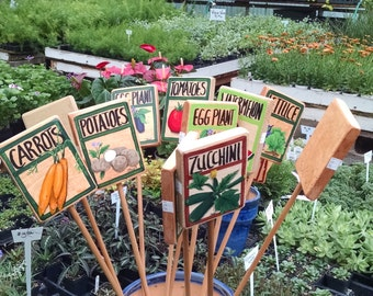 SALE ON, Garden Stakes, Garden Markers, Garden Signs,Garden Crop and Flower Markers. Hand Made and Painted by Shari of Shari's O Creations!