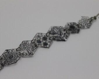 Hand drawn flower inspired hexagon bracelet