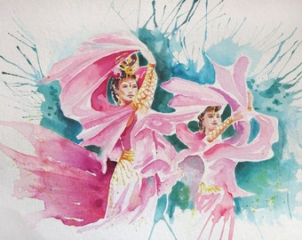 Watercolour painting of two beautiful Asian Dancers