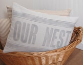 Pillow Cover, OUR NEST, Home Decor, Feedsack, Dropcloth, Farmhouse, Cottage