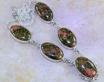 Unakite Sterling Silver Necklace Princess Style 18 3/4""