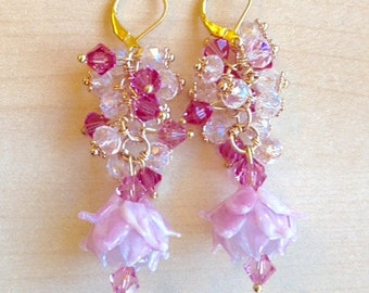 Gold plated earrings, crystal clusters pink and white, flowers lampwork glass